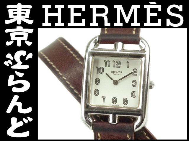 エルメス ケープコッド ドゥブルトゥール 腕時計茶5