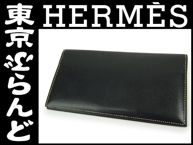 エルメスエプソン二つ折り長札入れブラック財布4