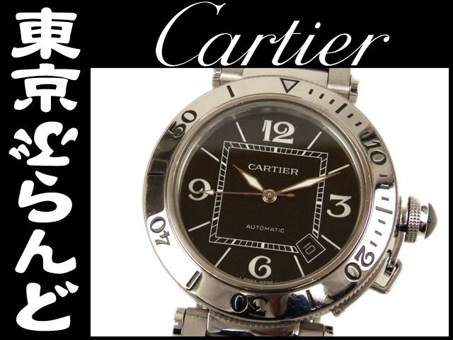 カルティエパシャシータイマーメンズ腕時計黒 AT 10