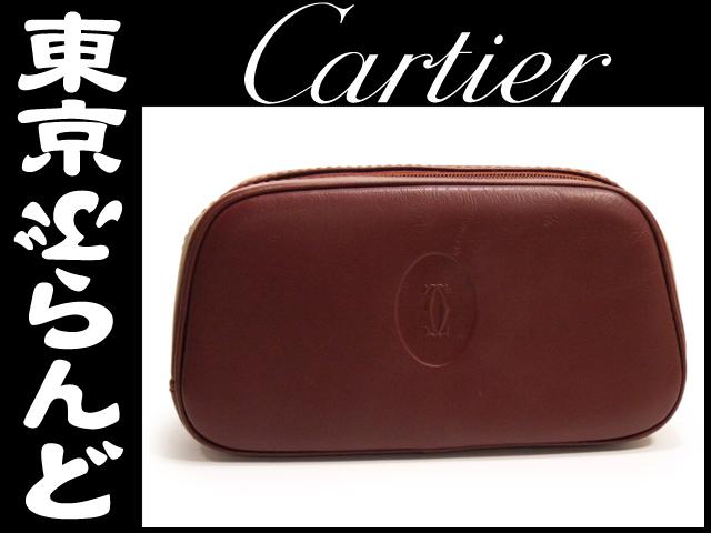 カルティエ cartier ポーチ ボルドー レザー 1