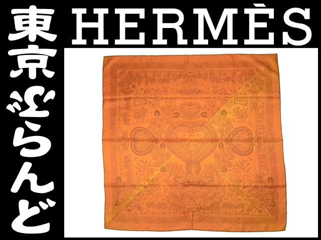 エルメス シルクスカーフ オレンジ  1
