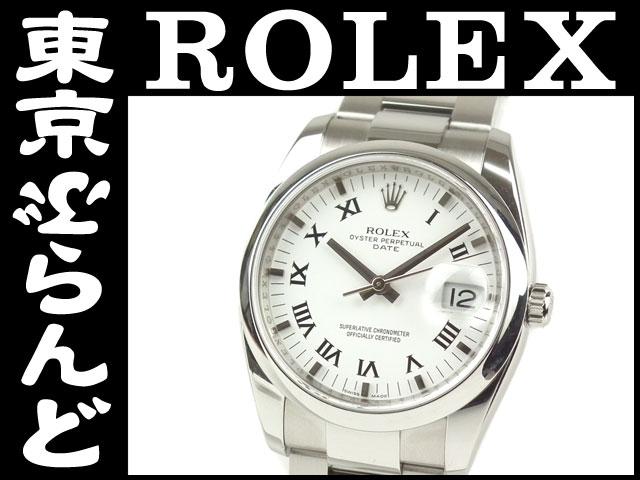ロレックスパーペチュアルデイト115200 D番 時計AT白PW