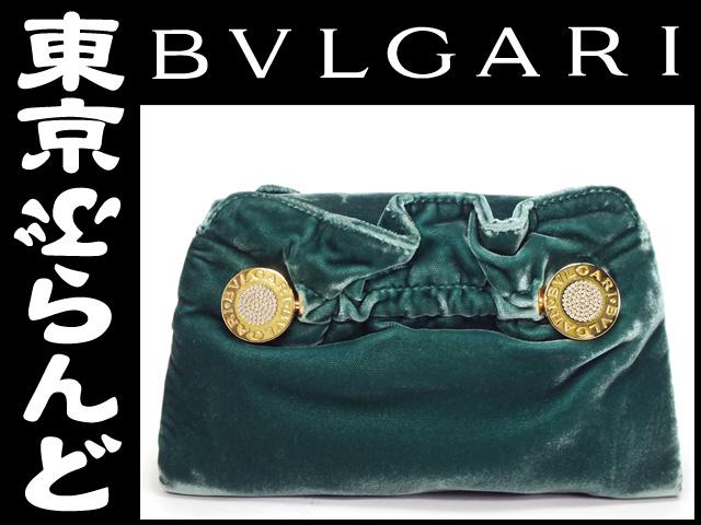 7de1526f1346 ブルガリ(BVLGARI) ベロア クラッチバッグ グリーン