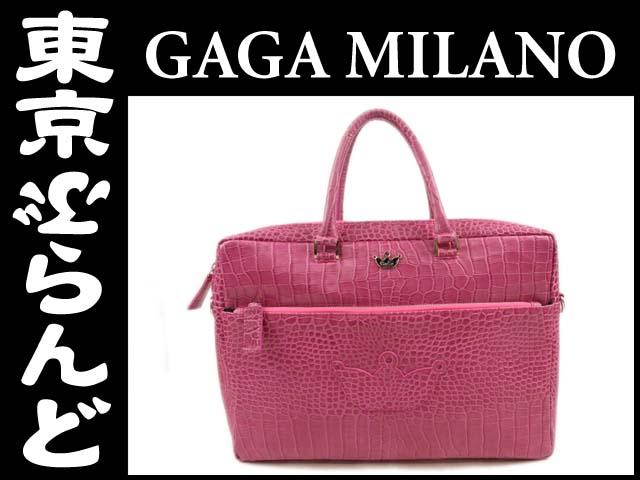 ガガミラノ 2wayビジネスバッグ クロコ調レザーピンク