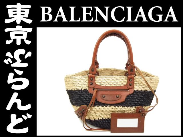 バレンシアガ ラフィア カゴバッグ 黒ベージュ3