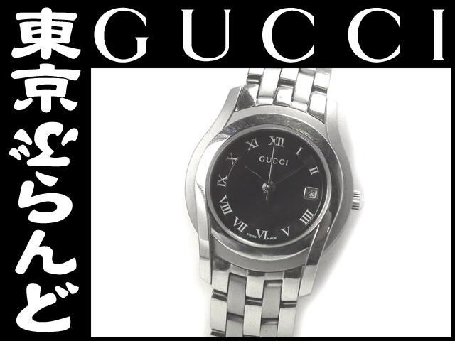 グッチ 5500L レディース腕時計 黒 シルバー QZ 1