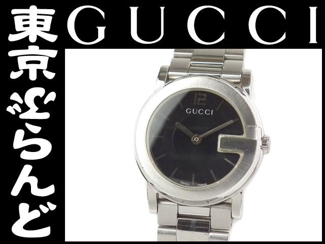 グッチ レディース腕時計 101L Qz SS 黒文字盤 2
