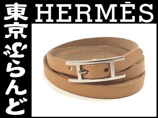 エルメス 3連ブレスレット 茶 レザー H金具未使用1