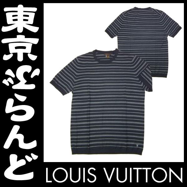 ヴィトン 半袖Tシャツ L ボーダー 紺 未使用2 apm