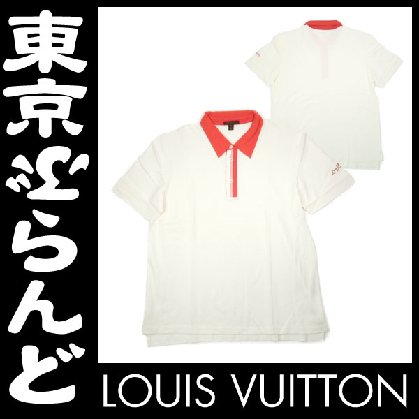 ヴィトン 半袖ポロシャツ XL メンズ白赤未使用 3 apm