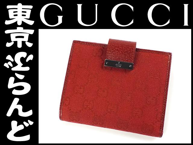 グッチ GGキャンバス Wホック財布 赤 展示品 レッド