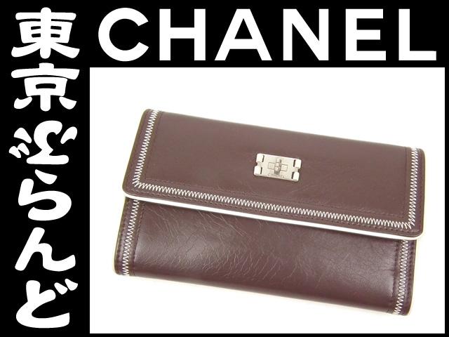シャネル(CHANEL) レザー 三つ折り長財布 茶 4