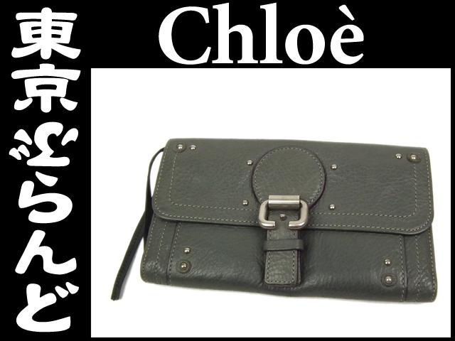 クロエ(Chloe') レザー 二つ折り長財布 グレー 1
