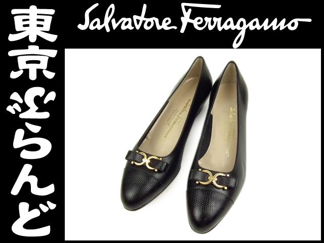 フェラガモ ガンチーニ パンプス 靴 6.5 黒 未使用1