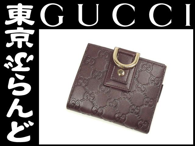 グッチ シマ ファスナー付二つ折り財布 茶3 展示品