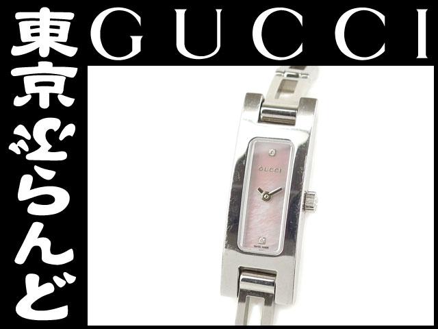 1円グッチレディース腕時計3900Lピンクシェル2Pダイヤ