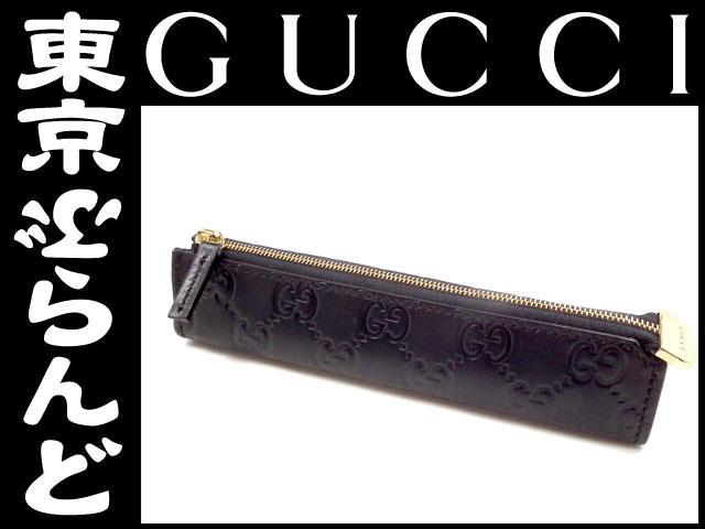 グッチ ペンケース シマ レザー 黒 1