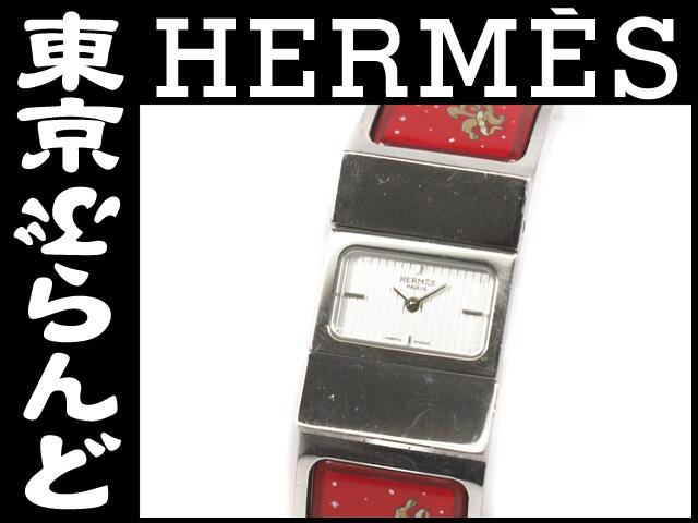 エルメス ロケ 七宝ブレスレット腕時計 レディース Qz5