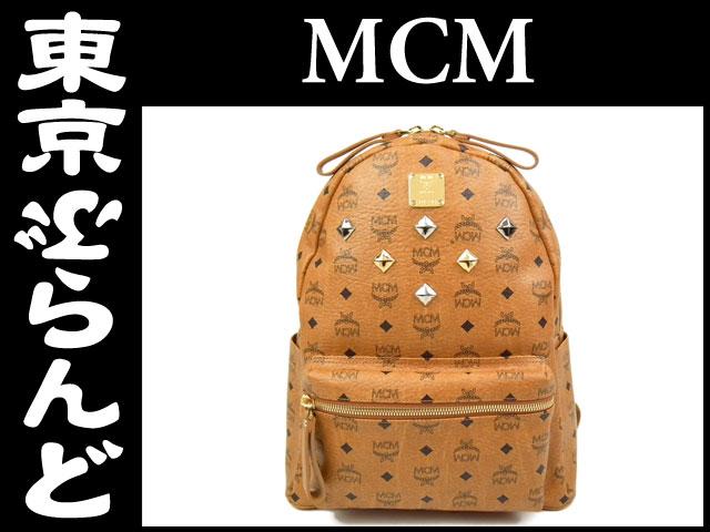 MCM スタッズ付 リュック バックパック バッグ 茶 4