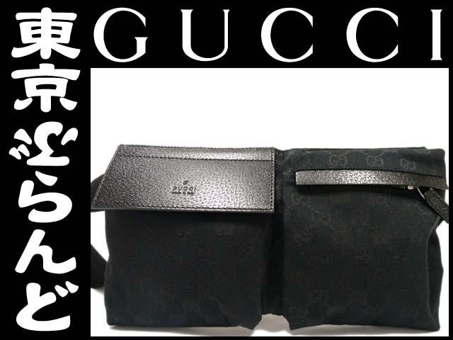 【新品】グッチ GGキャンバス黒ウエストバッグ28566