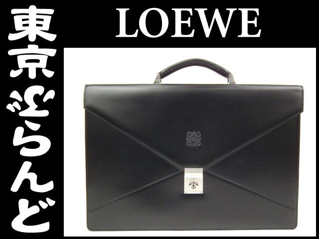 ロエベ ビジネスバッグ ブリーフケース 黒 レザー 5