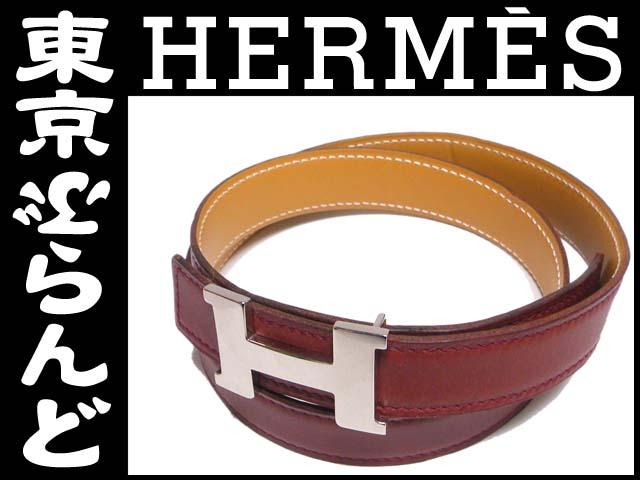 エルメス Hベルト コンスタンス赤ブラウン#701