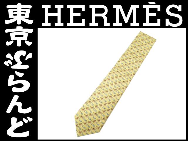 【新品】エルメス ネクタイ サーファー柄 黄色 1