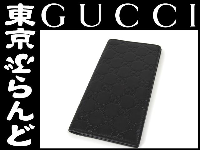 グッチ シマ レザー 二つ折り長札入れ 財布 黒 1