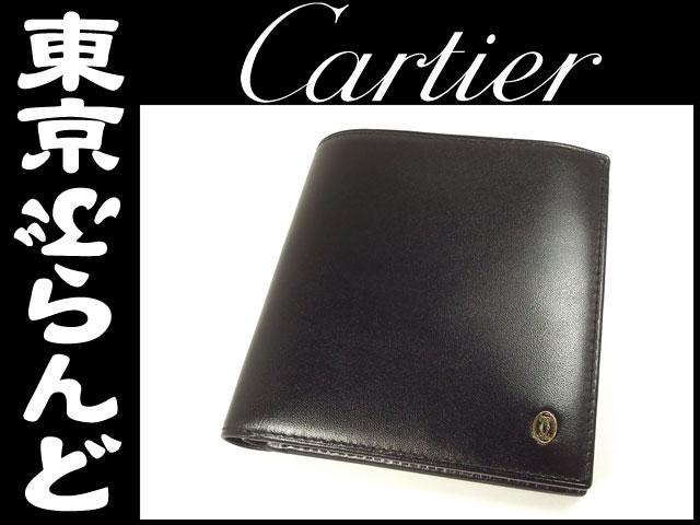 カルティエ パシャ レザー 二つ折り財布 黒 ブラック