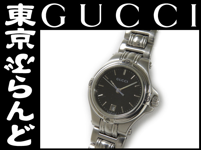 グッチ (GUCCI) 9040L レディース腕時計 黒 Qz SS