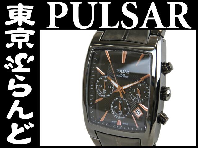 1円 パルサー PT3121 クロノ メンズ腕時計 ブラックQZ