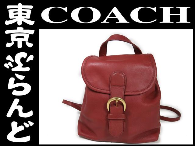 コーチ COACH レザー リュックサック 赤レッド 4152
