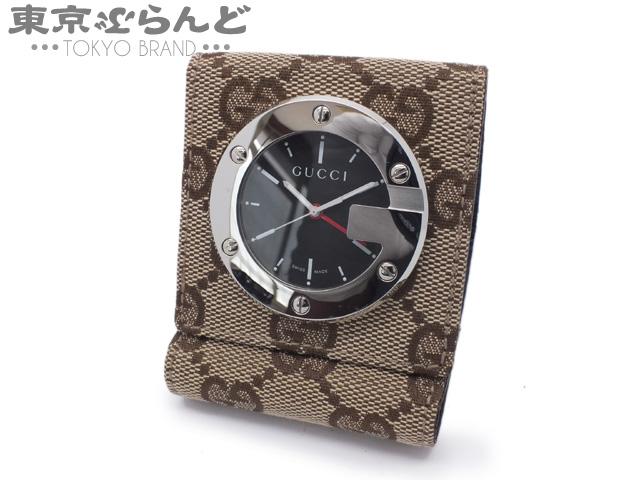 グッチ トラベルクロック GGキャンバス 置時計