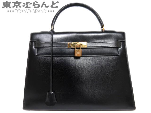 エルメス ケリー32 黒 ボックスカーフ ○H刻 外縫