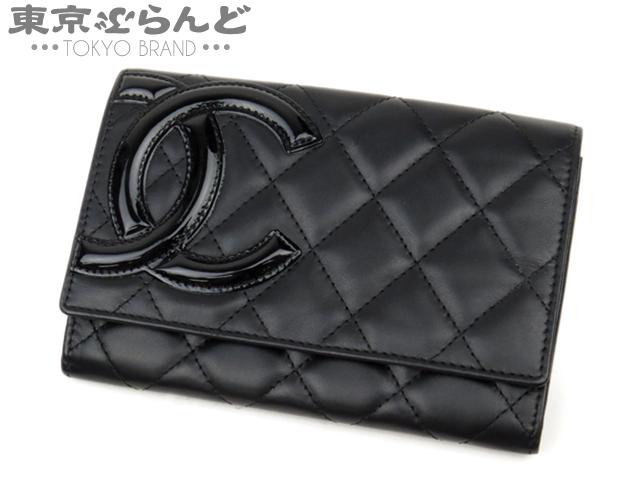 シャネル 二つ折り財布 カンボン ラム ブラック 3