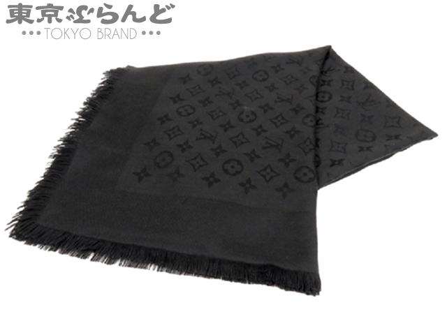 ヴィトン モノグラム スカーフ 黒 M71329 シルク混