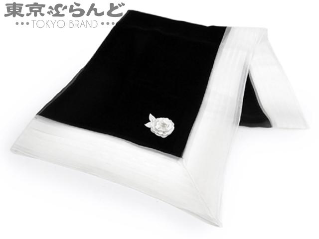 シャネル シルク ストール ショール カメリア 白×黒