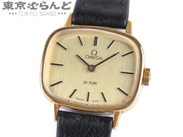 1円 オメガ デビル レディース腕時計 手巻きSS レザー