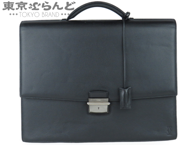 カルティエ レザー ビジネスバッグ 黒 4